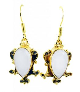 Riyo White Agate Gold Plated Jewellery Huggy Earrings L 1.5in Gpeage-0008)