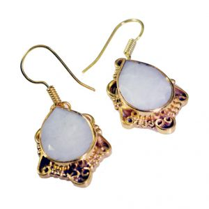Riyo White Agate Gold Plated Wholesale Spring Hoop Earrings L 1.5in Gpeage-0013)