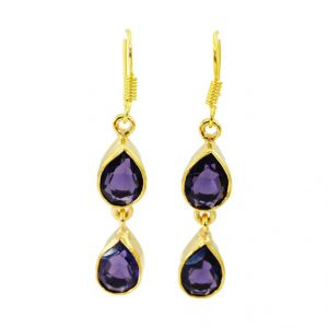 Riyo Amethyst Cz 18 Ct Gold Plating Dangling Earring L 1in Gpeamcz-88001)