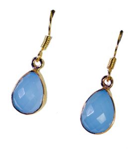 Riyo Blue Chalcedony 18 Ct Ygold Plating Exclusive Earring L 1in Gpebch-8006)