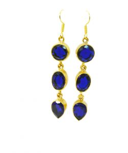 Riyo Blue Sapphire Cz 18 Kt Y Gold Plating Ear Hook Earrings L 2.5in Gpebscz-90003)