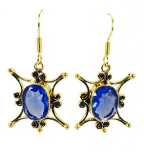 Riyo Blue Sapphire Cz 18 Ct Gold Plated Earring L 1.5in Gpebscz-90012)