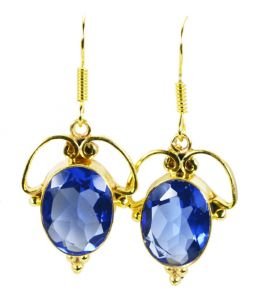 Riyo Blue Sapphire Cz 18-kt Y Gold Plated Love Earring L 1.5in Gpebscz-90020)