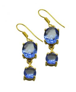Riyo Blue Sapphire Cz 18kt Gold Plated Two Tone Earring L 1.5in Gpebscz-90025)