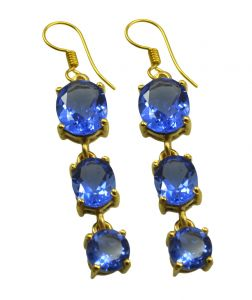 Riyo Blue Sapphire Cz 18kt Gold Plated Unique Earring L 2.25in Gpebscz-90026)