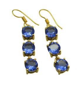 Riyo Blue Sapphire Cz 18kt Gold Plated Vintage Earring L 2in Gpebscz-90028)