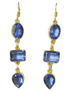 Riyo Blue Sapphire Cz 18kt Gold Plated Resistant Earring L 2.5in Gpebscz-90031)