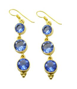 Riyo Blue Sapphire Cz 18kt Gold Plated Wear Anywhere Earring L 2.25in Gpebscz-90032)