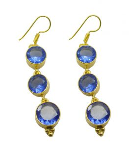 Riyo Blue Sapphire Cz 18kt Gold Plated Wrapped Earring L 2.5in Gpebscz-90035)