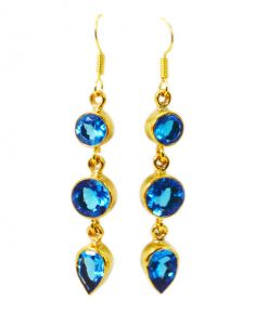 Riyo Blue Topaz Cz 18kt Gold Plating Dangle Earring L 2.5in Gpebtcz-92005)