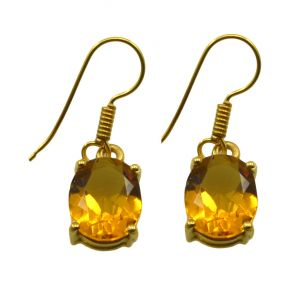Riyo Golden Citrine Cz 18kt Gold Plated Womens Earring L 1in Gpecicz-94011)