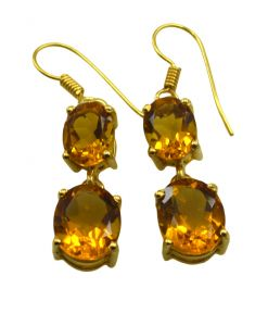 Riyo Yellow Citrine Cz 18kt Gold Plated Wrapped Earring L 1.5in Gpecicz-94012)