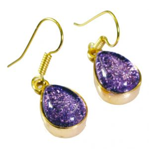 Riyo Dichroic Glass Gold Plated Indian Huggy Earrings L 1.2in Gpedgl-22005)