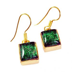 Riyo Dichroic Glass Wholesale Gold Plated Party Wear Earring L 1.2in Gpedgl-22012)