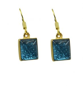 Riyo Dichroic Glass 18kt Gold Plated Hand Carved Earring L 1.25in Gpedgl-22027)