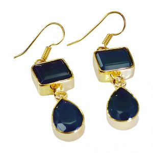 Riyo Green Onyx Jewellery Gold Plated Antique Earrings L 1.5in Gpegon-30001)