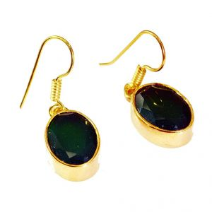 Riyo Green Onyx 18kt Y Gold Plating Huggy Earrings L 1.5in Gpegon-30008)