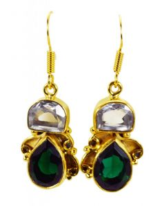Riyo Crystal Emerald Cz Jewelry Gold Plated Antique Earrings L 1.5in Gpemul-52044)