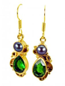 Riyo Pearl Emerald Cz Plated Gold Jewelry Bridal Earrings L 1.5in Gpemul-52045)