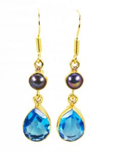 Riyo Pearl Blue Topaz Cz Gold Plated Fashion Dangle Earrings L 1.5in Gpemul-52047)