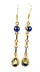 Riyo Pearl Lemon Quartz Gold Plate Huggy Earrings L 1.5in Gpemul-52051)