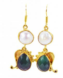 Riyo Pearl Green Onyx Gold Plated Sets Earrings L 1.5in Gpemul-52054)