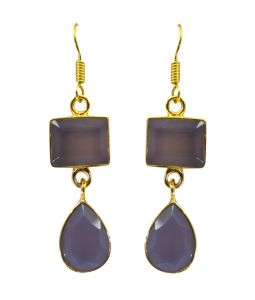 Riyo A Purple Chalcedony 18kt Gold Plated Pre Formed Earring L 2.25in Gpepch-62002)