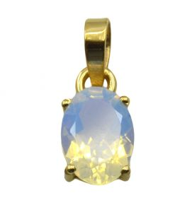 Riyo White Fire Opal Cz 18kt Gold Plated Stylish Pendant L 1in Gppfocz-98010)