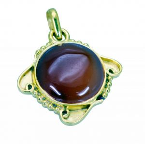 Riyo Red Onyx 18 Kt Y.g. Plated Sun And Moon Pendants L 1.5in Gppron-66046)