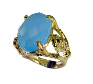 Riyo Blue Chalcedony 18 Ct Ygold Plated Toe Ring Jewelry Sz 5 Gprbch5-8044