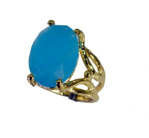 Riyo Blue Chalcedony 18kt Y.g. Plated Cocktail Ring Sz 5.5 Gprbch5.5-8046