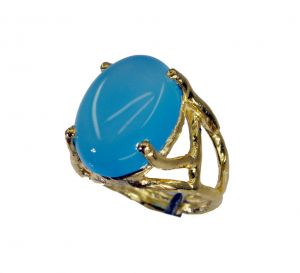 Riyo Blue Chalcedony 18 Kt Gold Fashion Class Ring Sz 6 Gprbch6-8054