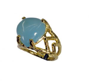 Riyo Blue Chalcedony 18-kt Y Gold Plated Ecclesiastical Ring Sz 6 Gprbch6-8056