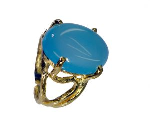 Riyo Blue Chalcedony 18.kt Gold Platings Beautiful Ring Sz 6.5 Gprbch6.5-8048