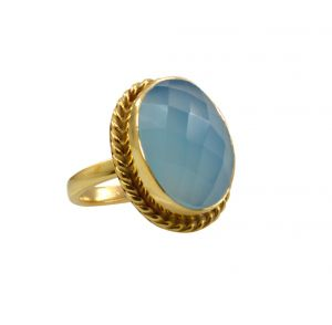 Riyo A Blue Chalcedony 18kt Gold Plated Sporty Ring Gprbch65-8072