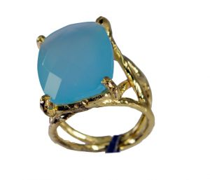 Riyo Blue Chalcedony 18 Ct Gold Plated Nice Ring Sz 7 Gprbch7-8051