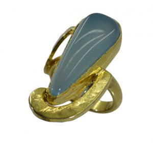 Riyo A Blue Chalcedony 18kt Gold Plated Gorgeous Ring Gprbch70-8081