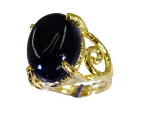 Riyo Black Onyx Fine Gold Plated Finger Armor Ring Sz 5 Gprbon5-6058