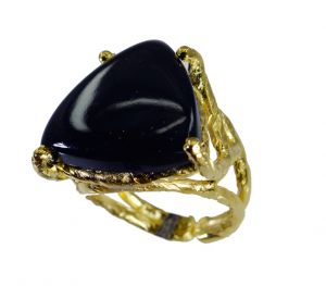 Riyo Black Onyx 18 Ct Ygold Plated Gimmal Ring Sz 6.5 Gprbon6.5-6077