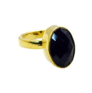 Riyo Black Onyx 18kt Gold Platings Purity Ring Jewelry Sz 7 Gprbon7-6015