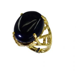 Riyo Black Onyx 18-kt Gold Plating Cameo Ring Sz 8 Gprbon8-6067