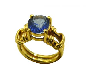 Riyo A Blue Saphire Cz 18kt Gold Plated Rugged Ring Gprbscz80-90021