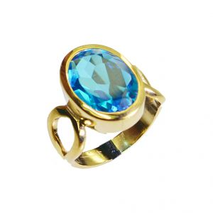Riyo Blue Topaz Cz 18c Gold Plating Signet Ring Jewelry Sz 6 Gprbtcz6-92003