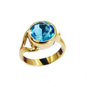 Riyo Blue Topaz Cz 18k Y Gold Plate Sports Ring Sz 6 Gprbtcz6-92005