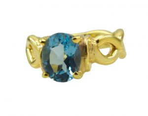 Riyo A Blue Topaz Cz 18kt Gold Plated Smoky Ring Gprbtcz60-92112