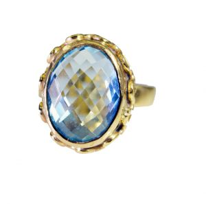 Riyo Blue Topaz Cz Gold Plated Wholesale Aqiq Ring Sz 6.5 Gprbtcz6.5-92056