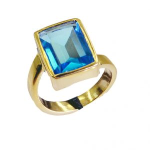 Riyo Blue Topaz Cz Gold Polish Finger Armor Ring Sz 7 Gprbtcz7-92011