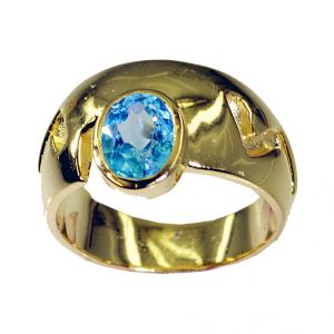 Riyo Blue Topaz Cz 18k Y Gold Plating Ecclesiastical Ring Sz 7 Gprbtcz7-92027