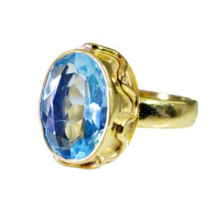 Riyo Blue Topaz Cz Wholesale Gold Plate Ecclesiastical Ring Sz 7 Gprbtcz7-92060