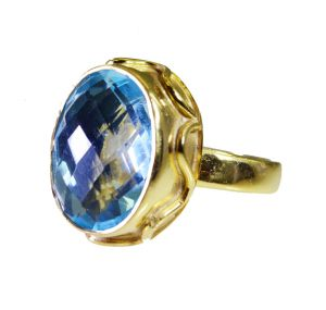 Riyo Blue Topaz Cz 18kt Y Gold Plating Engagement Ring Sz 7 Gprbtcz7-92085